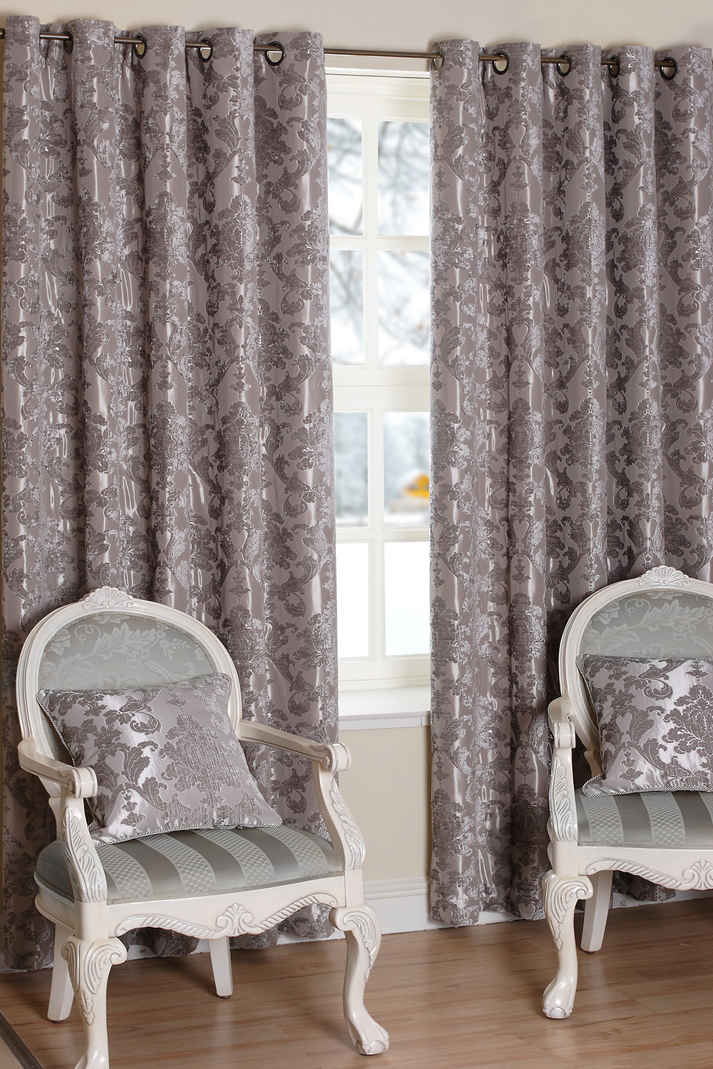 Parklane Silver Ready Made Curtains