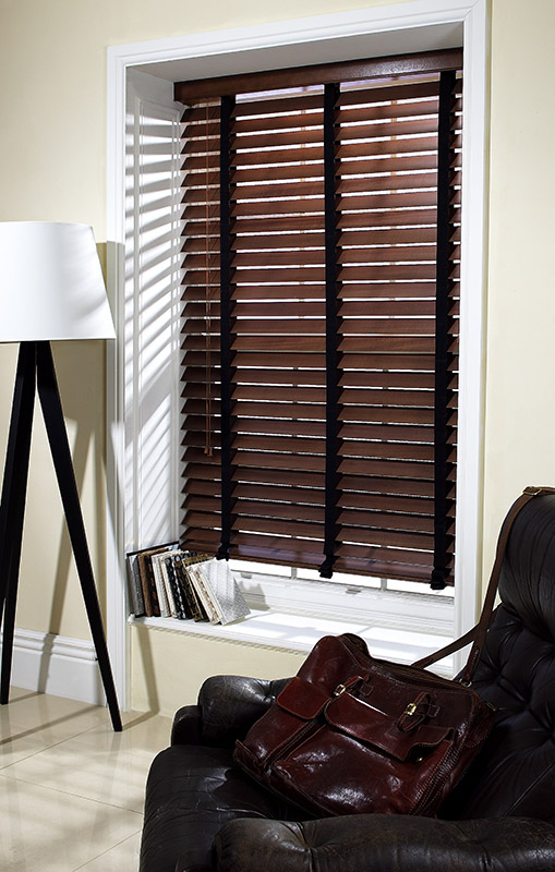 Walnut blind with 38mm Chocolate Tape