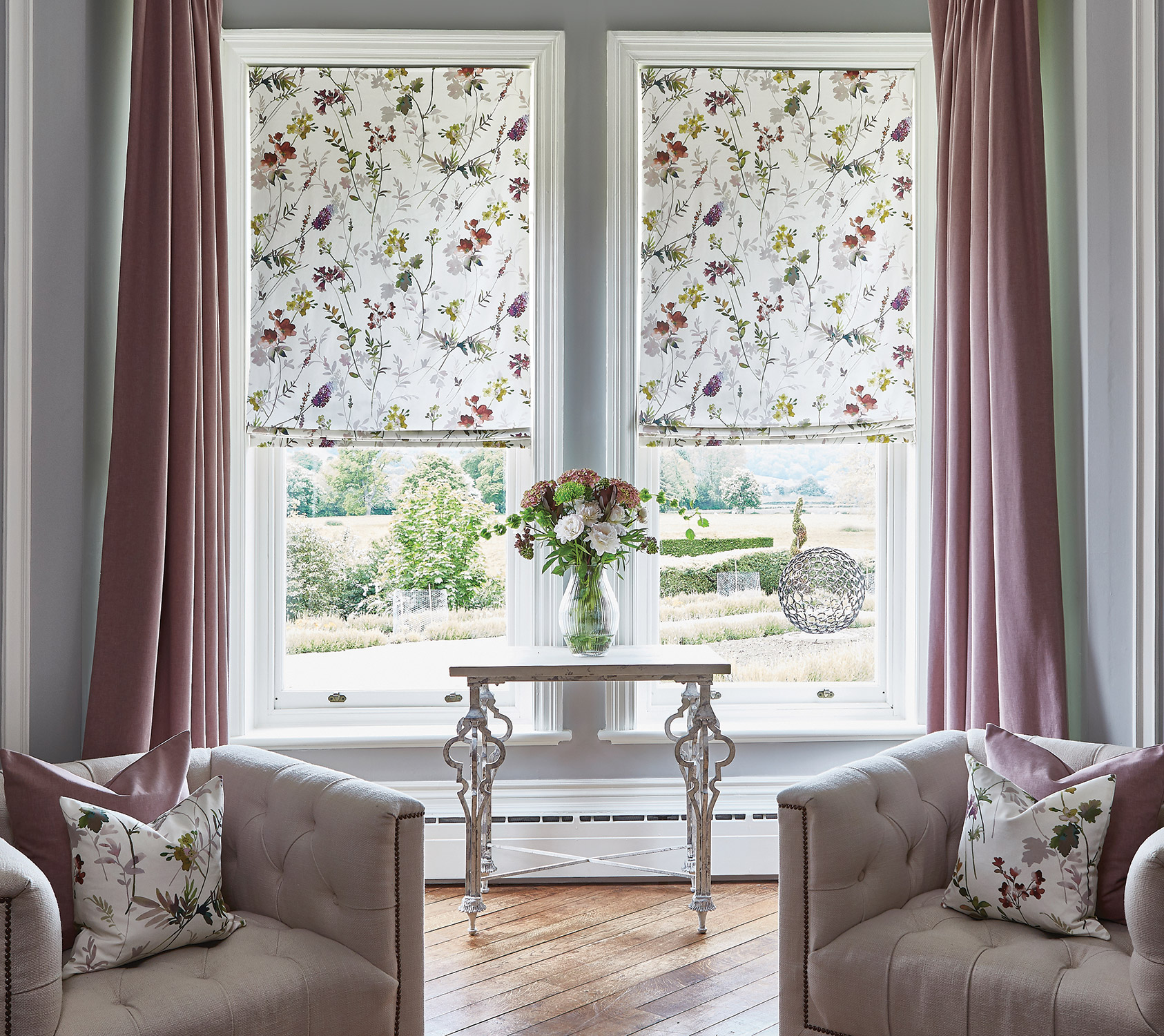 Tuileries Rose Quartz Roman Blinds Oslo Thistle Curtains