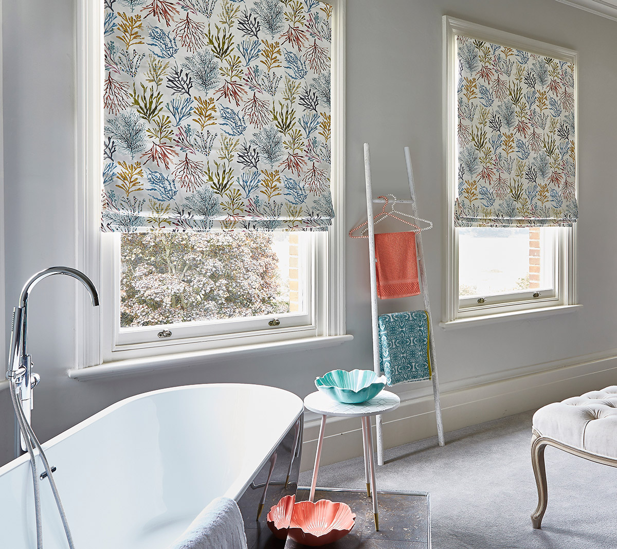Coral Tropical Roman Blind from SLX