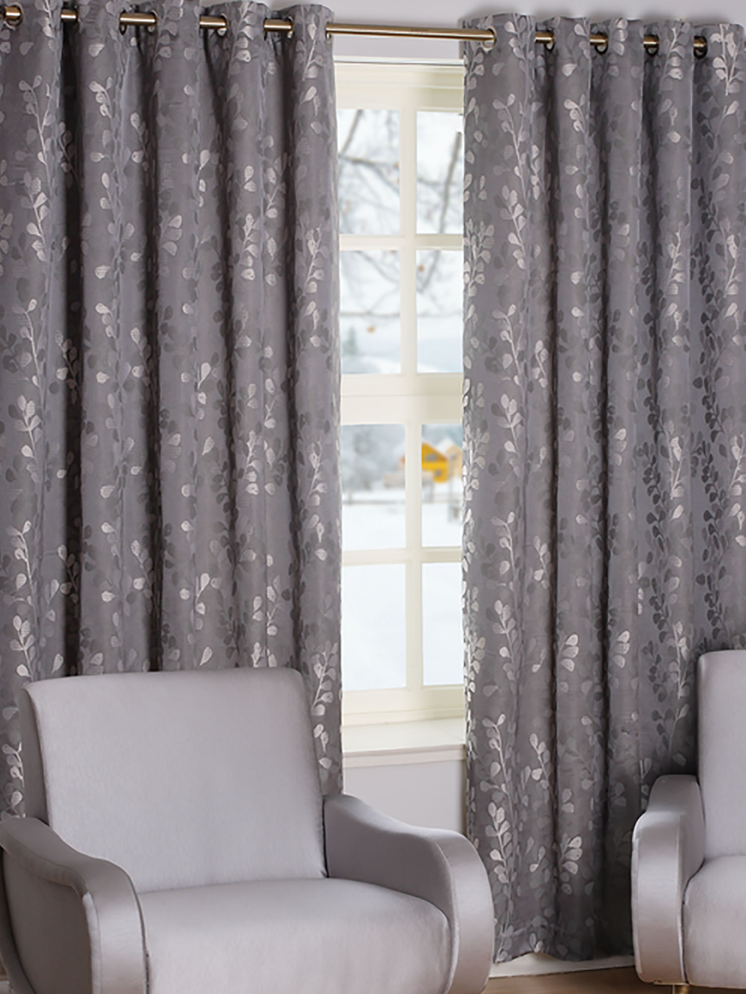 Trail Pewter Ready Made Curtains